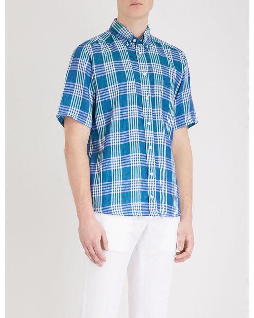Eton of Sweden - Green Checked Slim-fit Linen Shirt for Men - Lyst