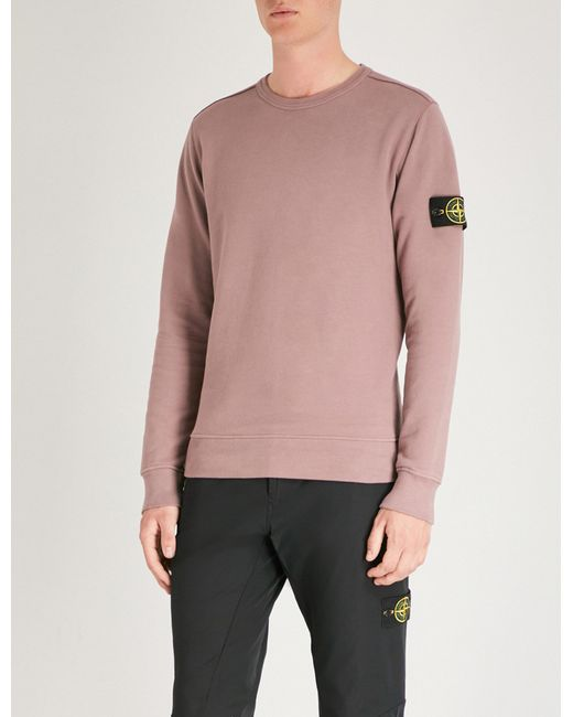 Stone Island - Pink Logo Patch-embroidered Cotton-jersey Jumper for Men - Lyst