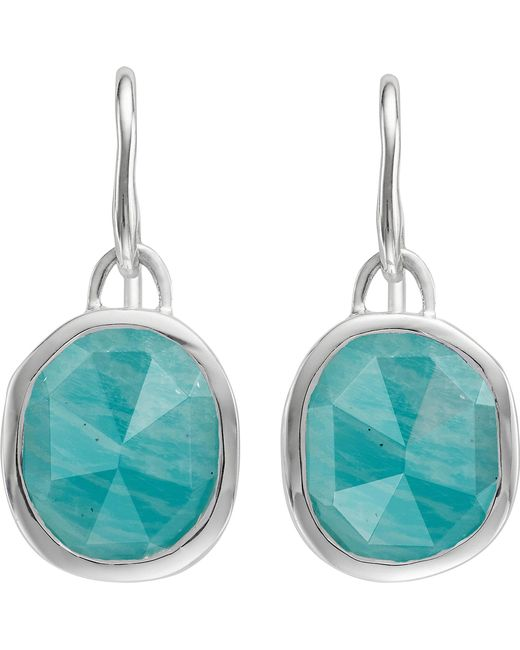 Monica Vinader - Metallic Siren Sterling Silver And Amazonite Wire Earrings - Lyst