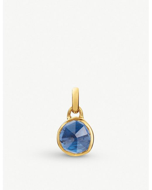 Monica Vinader - Blue Siren Mini 18ct Gold Vermeil And Kyanite Bezel Pendant - Lyst