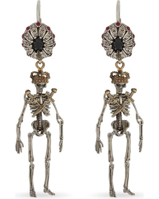 Alexander McQueen - Metallic Jewelled Skeleton Earrings - Lyst