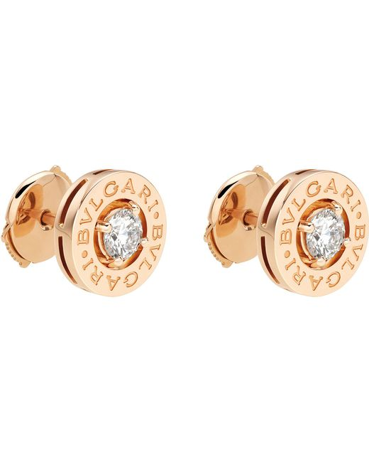 BVLGARI - - 18ct Pink-gold Stud Earrings With Diamonds - Lyst
