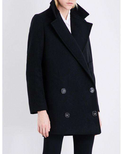 Stella McCartney - Ladies Black Double-breasted Wool-blend Coat - Lyst