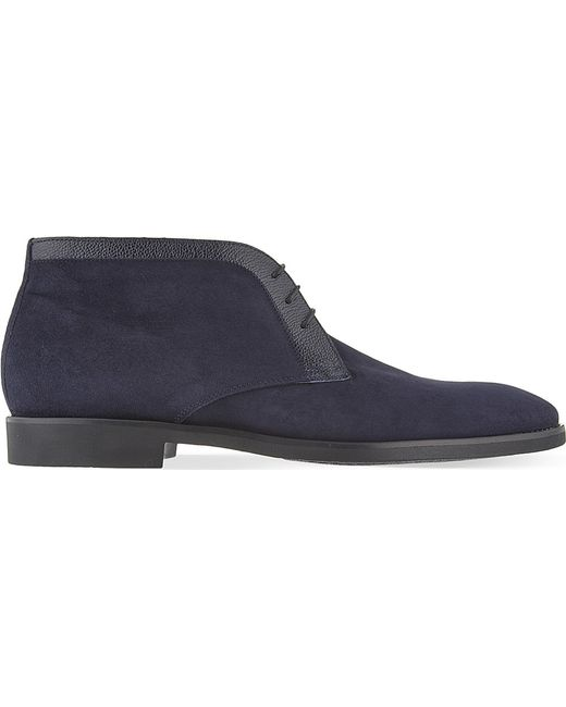 Stemar | Blue Trim 3 Eye Chukka Suede Boots for Men | Lyst