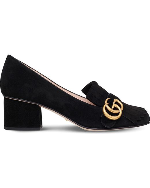 Gucci   Black Marmont Fringed Suede Loafers   Lyst