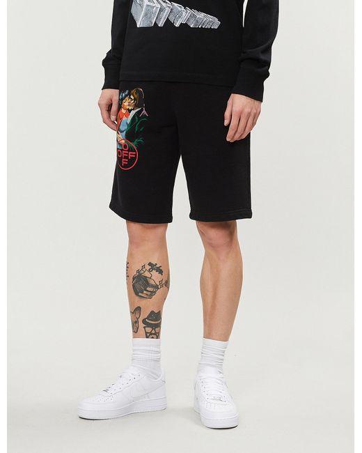 Lyst - Off-White C O Virgil Abloh Kiss-print Cotton-jersey Shorts in ... 00eba78b6