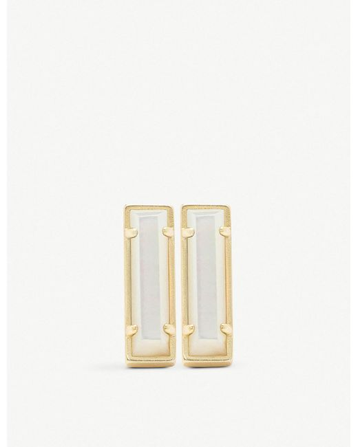 Kendra Scott - Metallic Lady 14ct Gold-plated And Ivory Mother-of-pearl Bar Earrings - Lyst