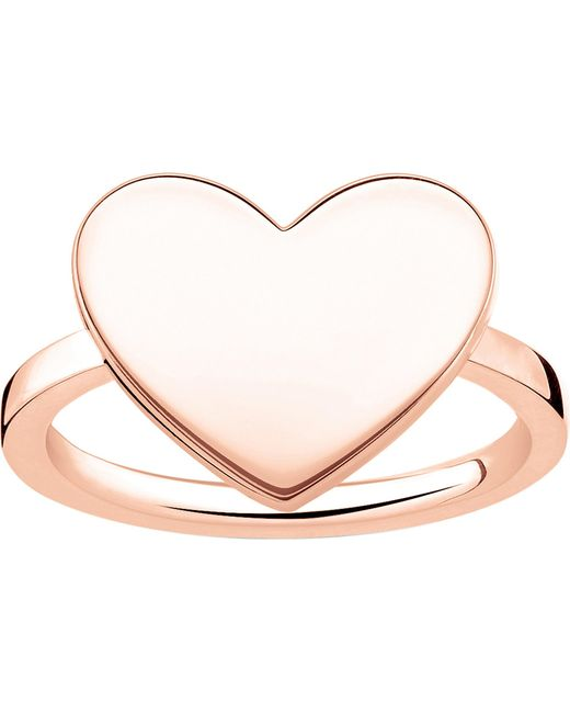 Thomas Sabo - Metallic Love Bridge Engraveable Rose Gold-plated Heart Ring - Lyst