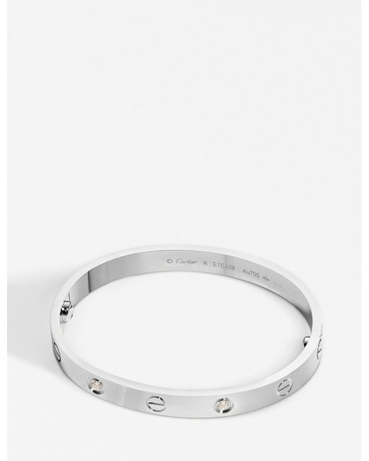 Cartier - Love 18ct White-gold And Diamond Bracelet - Lyst