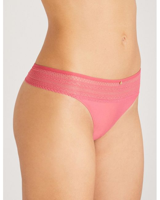 Passionata - Pink Cheeky Jersey And Stretch-lace Thong - Lyst