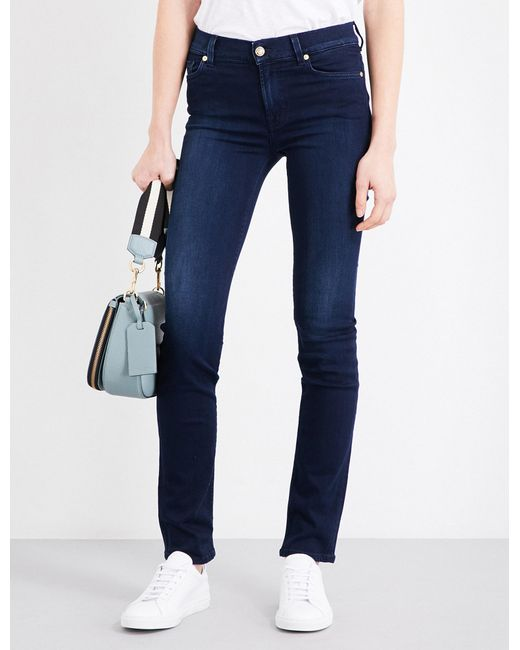 Lyst - 7 For All Mankind Rozie Slim High-rise Jeans in Blue 2c2dca92f