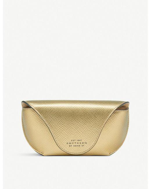 Smythson - Metallic Panama Cross-grain Leather Sunglasses Case - Lyst