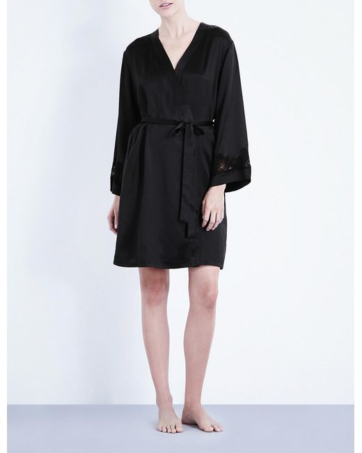 Nk Imode - Black Morgan Stretch-lace And Silk-satin Robe - Lyst