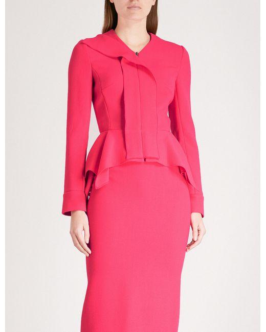 Roland Mouret - Pink Asymmetric Wool Jacket - Lyst
