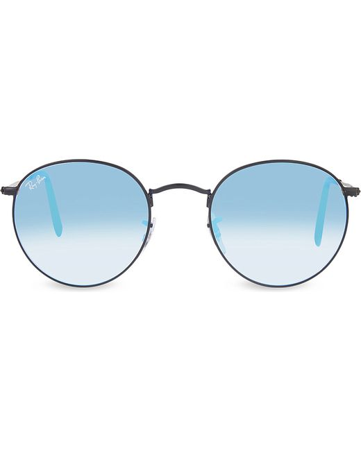 Ray Ban Round Frame Sunglasses : Ray-ban Rb3447 Round-frame Sunglasses in Blue Lyst
