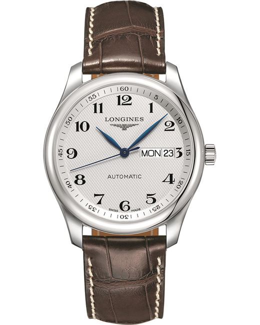 Longines l22578783 master collection stainless steel automatic leather strap watch in metallic for Longines leather strap