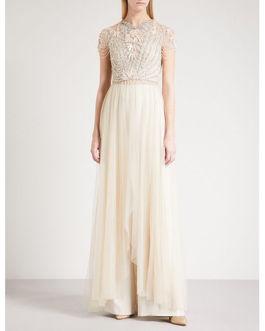 Lyst - Jenny packham Open-front Embellished And Tulle Gown in Natural