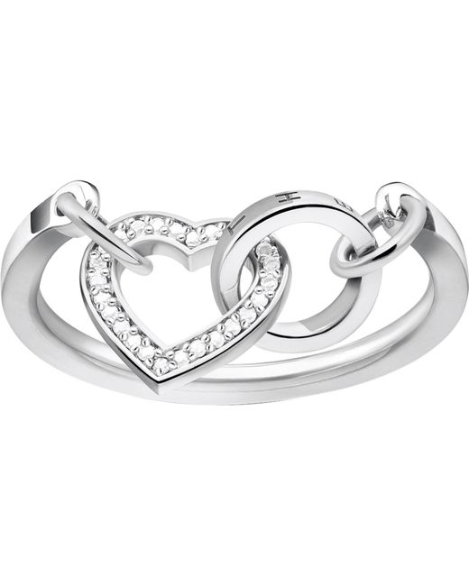 Thomas Sabo - Metallic Together Forever Heart Sterling Silver And Zirconia Ring - Lyst