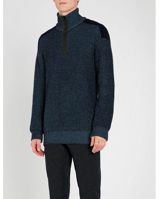78913b52 Boss Funnel-neck Knitted Jumper in Blue for Men - Lyst