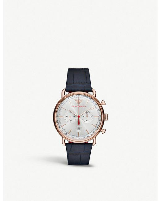 Emporio Armani - Multicolor Ar11123 Aviator Stainless Steel And Crocodile-embossed Leather Strap Tachymeter Watch for Men - Lyst