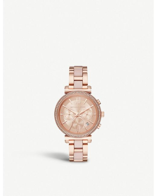 Michael Kors - Pink Mk6560 Sofie Rose Gold-plated Stainless Steel Chronograph Watch - Lyst