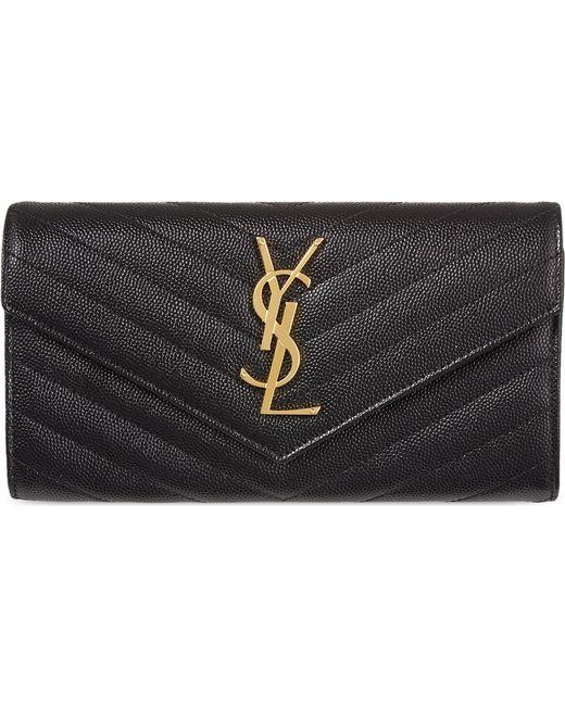 Saint Laurent - Black Classic Monogram Flapped Wallet - Lyst