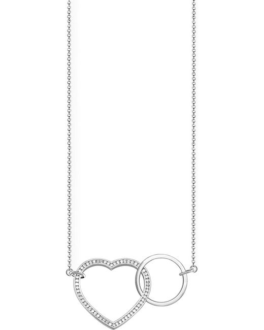 Thomas Sabo - Metallic Together Heart Large Sterling Silver And Crystal Necklace - Lyst