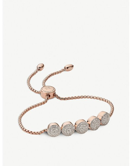 Monica Vinader - Metallic Fiji Button 18ct Rose Gold Vermeil And Diamond Friendship Chain Bracelet - Lyst