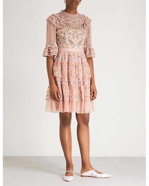 Needle & Thread - Pink Paradise Embroidered Chiffon Dress - Lyst