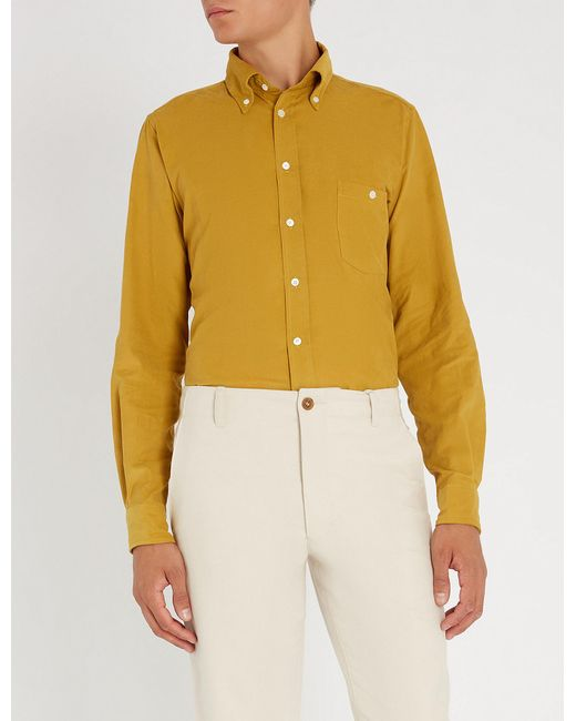 Richard James - Yellow Contemporary-fit Fine Needle Cotton-corduroy Shirt for Men - Lyst
