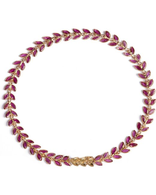 Annoushka | Metallic Ruby Vine 18ct Gold And Ruby Bracelet | Lyst