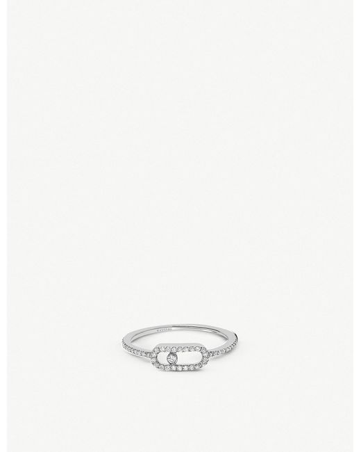 Messika - Move Uno 18ct White-gold And Pavé Diamond Ring - Lyst