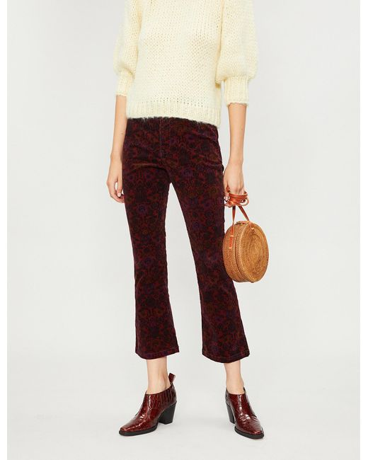 Free People - Multicolor Paisley-print Cropped Flared Corduroy Trousers - Lyst
