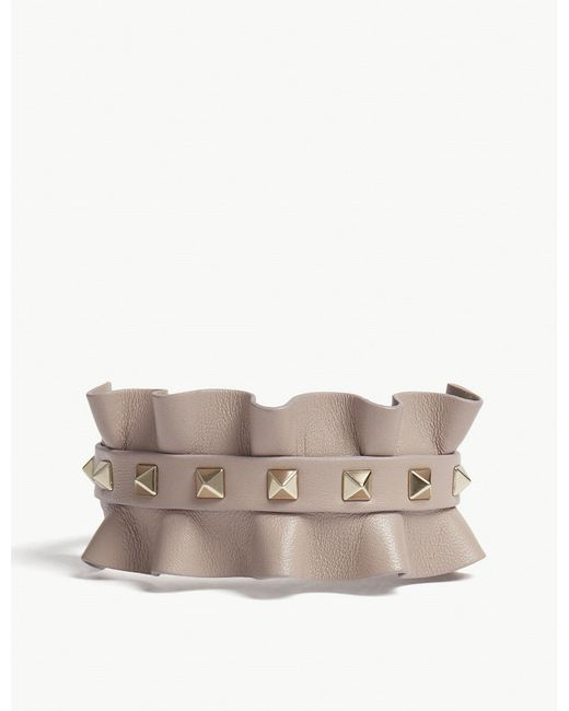 Valentino - Multicolor Rockstud Frilled Leather Bracelet - Lyst