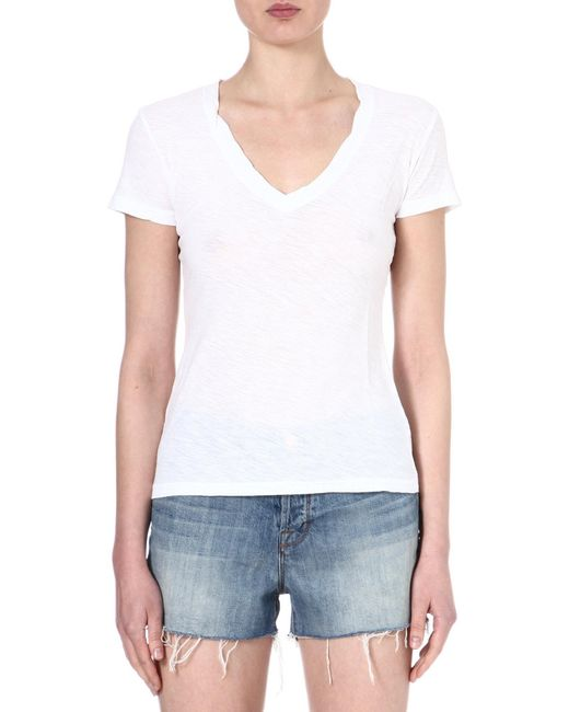 James Perse | White V-neck Jersey T-shirt | Lyst