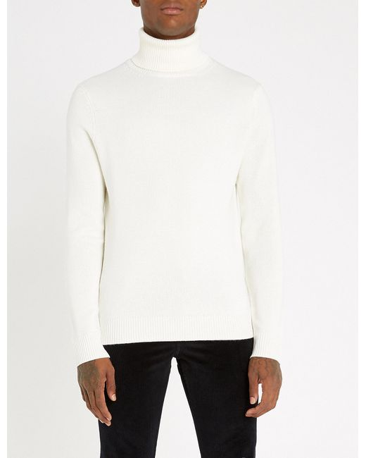Sandro - White Turtleneck Wool And Cashmere-blend Jumper for Men - Lyst