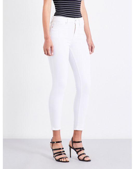 GOOD AMERICAN - White Ladies Concealed Zip Legs Crop Skinny High-rise Jeans - Lyst