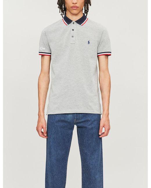 1fc8d0dc5 Polo Ralph Lauren - Blue Slim-fit Contrast Stripe Trim Cotton Polo Shirt  for Men