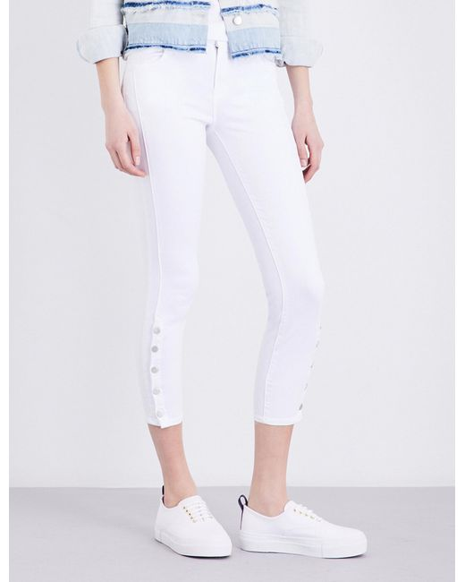 J Brand | White Suvi Cropped Mid-rise Jeans | Lyst