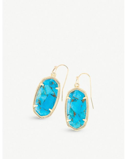 Kendra Scott - Blue Dani 14ct Gold-plated Bronze Veined Turquoise Drop Earrings - Lyst