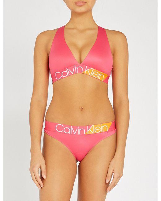 2336b42ca8 Calvin Klein Bold Accents Stretch-jersey Bralette in Pink - Lyst