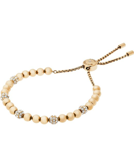 Michael Kors - Metallic Gold-toned Stainless Steel Slider Bracelet - Lyst