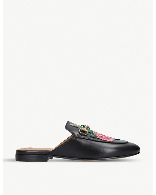 85ac97b452c Lyst - Gucci Princetown Floral-embroidered Leather Slippers in Black