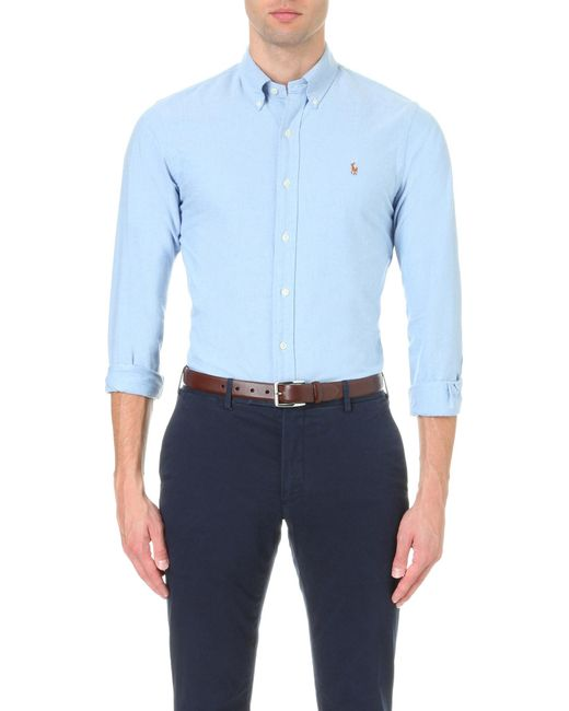 Polo Ralph Lauren   Blue Embroidered Logo Slim Fit Single Cuff Shirt for Men   Lyst