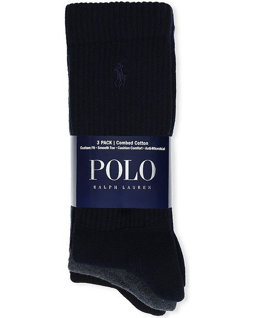 Polo Ralph Lauren | Blue Set Of Three Combed Cotton Socks for Men | Lyst