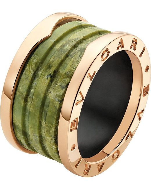 BVLGARI | B.zero1 Four-band 18kt Pink-gold And Green Marble Ring | Lyst
