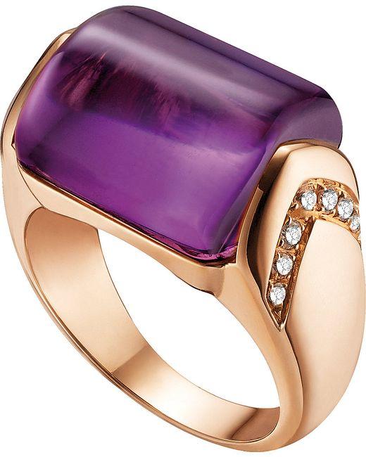 BVLGARI   Purple Mvsa 18ct Pink-gold, Amethyst And Diamond Ring   Lyst