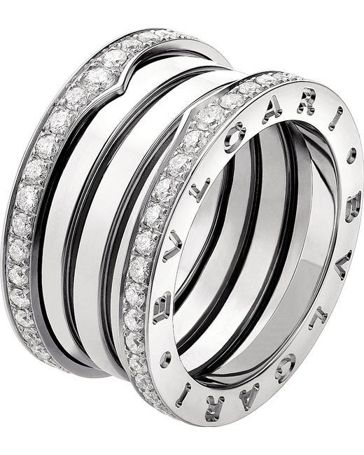 BVLGARI | Metallic B.zero1 Three-band 18kt White-gold Ring | Lyst