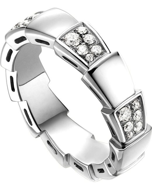 BVLGARI | Metallic Serpenti 18kt White-gold And Diamond Ring | Lyst