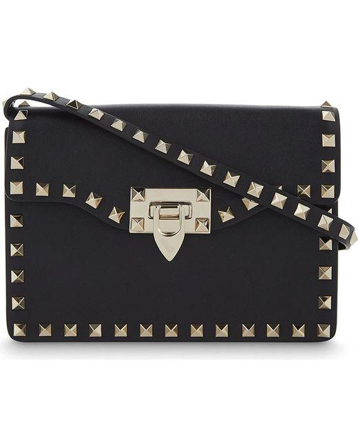 Valentino   Black Rockstud Mini Leather Satchel   Lyst
